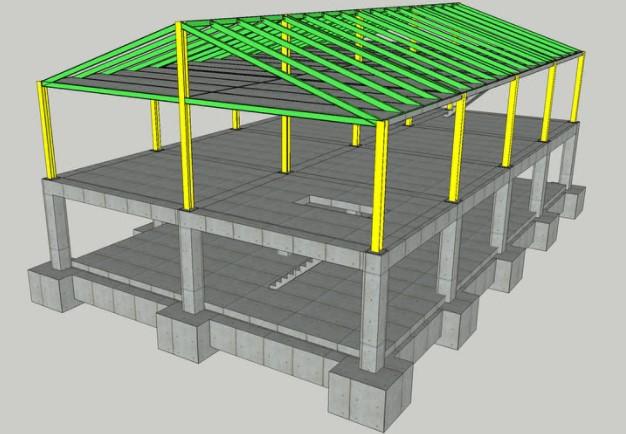 Bangunan Besi Baja Rumah 2 Tingkat